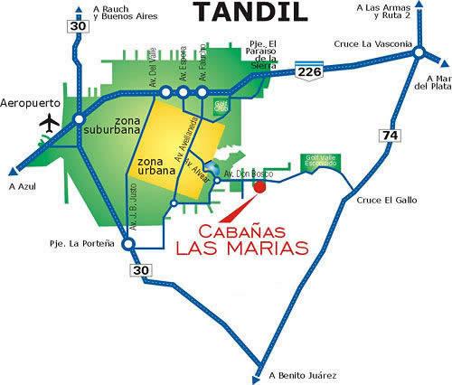 Plano para llegar a Cabañas Las Marias